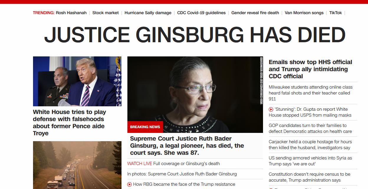 BREAKING NEWS: Ruth Bader Ginsburg dead at 87