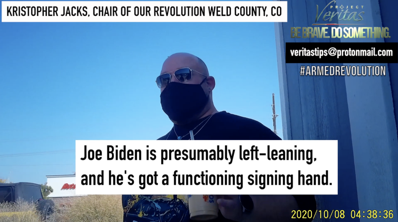 """Project Veritas: Our Revolution Chair and Colorado Dem Party Exec """"It's truly killing random Nazis in the street"""""""