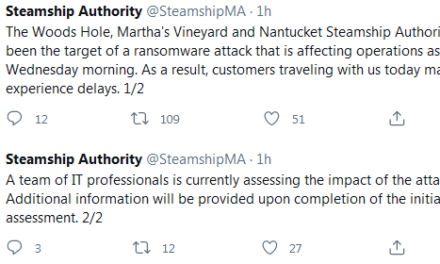 Massachusetts Steamship Authority Hit by Ransomware Attack; Ferries Delayed